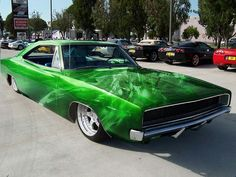 68 Charger. Awesome paint job. Too low though.