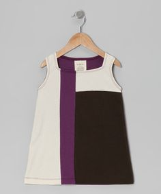 Another great find on #zulily! YuMiChi Kids Purple & Toffee Mondrian Organic Dress - Toddler & Girls by YuMiChi Kids #zulilyfinds