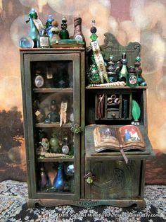 A Wizard's Study ooak cupboard dollhouse miniature by DarkSquirrel, $95.00