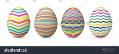 Easter eggs isolated on the white background. Collection of colorful, decorated and painted eggs. Easter Eggs, Colorful, Image, Collection, Easter