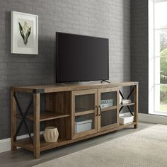 Reclaimed Barnwood 70 Inch Farmhouse TV Stand - Metal X | RC Willey Furniture Store