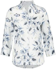 Long sleeve blouse with floral tendrils,Offwhite-Blue Sky-Navy Blue