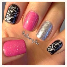 Pink, Black, & Silver Nails with Stamp  Base Colors