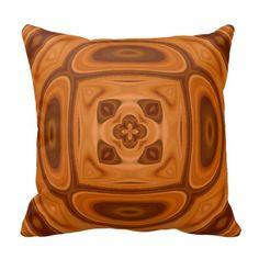 Orange wood abstract pattern throw pillow