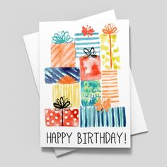 This fun watercolor birthday card is sure to please your recipients this year! Get this exclusive new design only at CardsDirect. Birthday Card Puns, Happy Birthday Signs, Simple Birthday Cards, Bday Cards, Birthday Greeting Cards, Birthday Greetings, Handmade Birthday Cards, Diy Birthday, Birthday Gifts