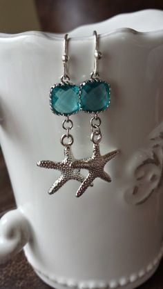 The Shelley Earrings starfish beach summer blue by TheCoralDahlia, $18.00