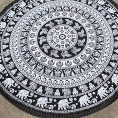 Black and White Elephant Camel round fringe towel