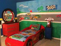My son's race car themed room and mural. Had a blast doing it.