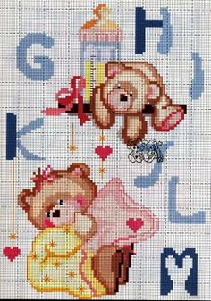 Bem vindo bebê! Cross Stitch For Kids, Cross Stitch Baby, Cross Stitch Charts, Seed Bead Patterns, Craft Patterns, Diy Embroidery, Cross Stitch Embroidery, Baby Chart, Cross Stitch Alphabet Patterns