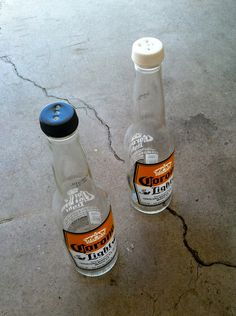 DIY Beer Bottle Salt and Pepper Shakers   DIY Beer Bottle Craft Projects by DIY Ready at www.diyready.com/diy-projects-uses-for-beer-bottles/