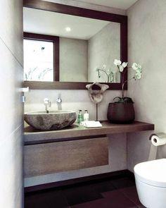 modern bathroom - downstairs bathroom one day? Beautiful Bathrooms, Modern Bathroom, Small Bathroom, Master Bathroom, Natural Bathroom, Modern Vanity, Guest Toilet, Downstairs Toilet, Laundry In Bathroom