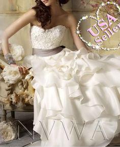 Nvwa nw22 white ivory organza bridesmaid bridal gown wedding
