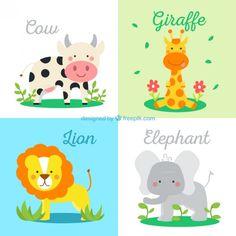 Animales para niños. Vaca, Jirafa, León y Elefante.