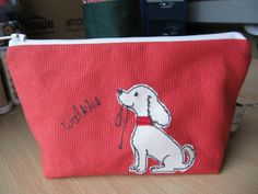 Walkies! Dog Applique Red Make Up Bag using free motion embroidery.
