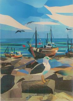 ARTFINDER: Fishing boats, Hastings Stade by Sue Farquharson - Limited edition Giclee prints from an original collage. Seagulls are the sight and sound of the seaside and together with the fishing boats are iconic . Great Paintings, Paintings For Sale, Landscape Art, Landscape Paintings, Nautical Art, A Level Art, Coastal Art, New Artists, Fishing Boats