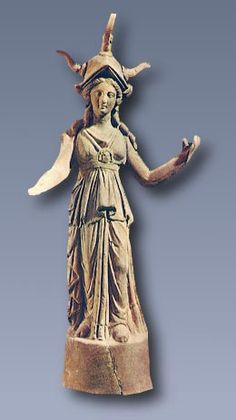 Figurine of Athena Terracotta figurine of Athena. Perhaps copy of the cult statue of Athena Alkidemos, who was worshipped at Pella, 2nd century BC, Pella, Archaeological Museum.