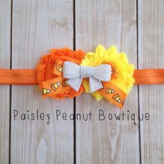 Candy Corn Halloween Headband. Made by Paisley Peanut Bowtique. Halloween Headband, elastic headband, Candy Corn Bow, baby headband, girls headbands