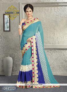 Designer Light Blue Coloured Saree