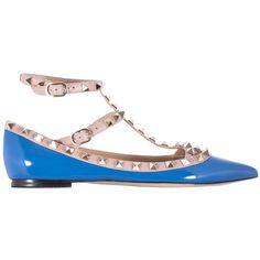 "Pre-owned Valentino Blue Brand New Patent Leather ""rockstud"" Ballerina... ($899) ❤ liked on Polyvore featuring shoes, flats et blue"
