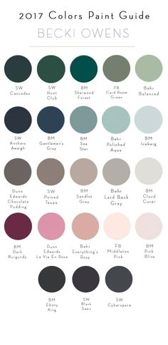 2017 Colors Paint Guide (BECKI OWENS) One of the best parts about starting a new year is the introduction of new paint colors. They are a creative jumpstart, acting as a guide to designing fresh new spaces. Today, I've put together a pain Room Colors, Wall Colors, House Colors, New Paint Colors, Interior Paint Colors, Paint Colors For Living Room, Interior Design, Interior Ideas, Paint Decor