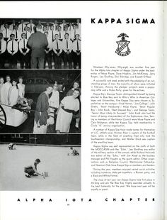 1958 Moccasin Yearbook, Kappa Sigma, University of Chattanooga, UTC. See more old yearbooks at http://digital-collections.library.utc.edu/cdm/landingpage/collection/p16877coll3