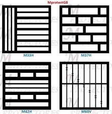 Wood overlay in white, over blue glass doors. Grill Gate Design, Window Grill Design Modern, Steel Gate Design, House Gate Design, Door Gate Design, Railing Design, Window Design, Iron Window Grill, Burglar Bars