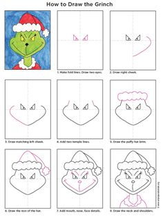 Art Projects for Kids: How to Draw the Grinch. Describe what the Grinch is like and if you have ever felt like a Grinch. Christmas Art Projects, Christmas Activities, Holiday Crafts, 2nd Grade Christmas Crafts, Christmas Drawings For Kids, Spring Crafts, Grinch Christmas, Kids Christmas, Xmas
