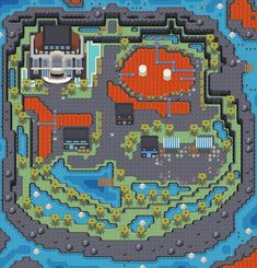 As mentioned in the previous map, I've decided to place Cinnabar within a caldera rather than make it a flat above-sea island. Another change I added wa. Art Pokemon, Pokemon Stuff, Pokemon Games, Map Games, Pixel Art Games, Cool Pixel Art, Retro Games, Rpg Maker, Fantasy Map