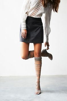 Levluv Heel | Knee high suede lace-up wrap around heeled sandals.