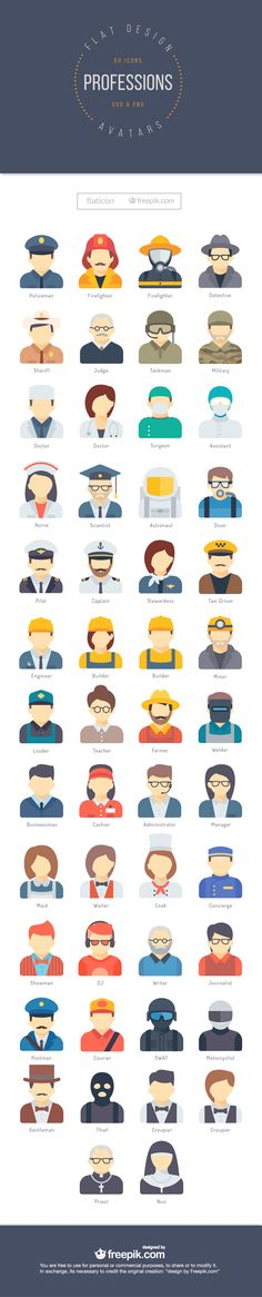 50 Free Professions Avatars in Flat Style