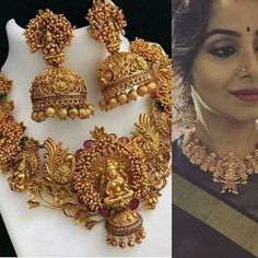 Gold Plated South Indian Lakshmi Temple Jewelry Necklace Set/ Gold plated Temple work Choker and Jhumka Earrings Set Indian Jewelry Sets, India Jewelry, South Indian Jewellery, Victorian Jewelry, Antique Jewelry, Antique Necklace, Necklace Designs, Anklet Designs, Mehndi Designs