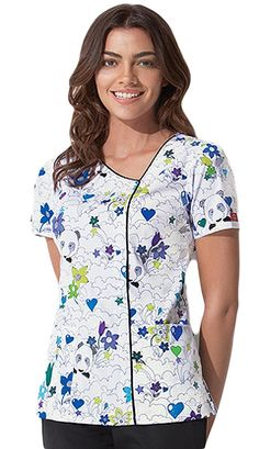 Uniquely styled scrub in Amanda Panda print with asymmetrical neckline with piping detail along the neck and down the front Scrubs Pattern, Stylish Scrubs, Scrubs Uniform, Stylish Blouse Design, Professional Wear, Uniform Design, Medical Scrubs, Peeling, Scrub Tops