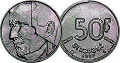 Belgium 50 Franc Frank Coins Belgique Belgian European 50 fr
