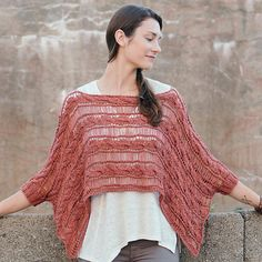 Pullover-poncho knitted with braids spits and paths from the lowered loops, a good companion for summer walks along the seacoast. Poncho Outfit, Poncho Sweater, Knitted Cape, Knitted Shawls, Poncho Knitting Patterns, Couture, Ladies Dress Design, Crochet Clothes, Knitting Projects