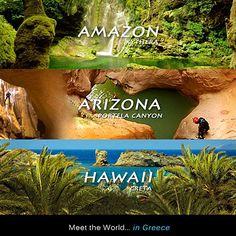 meet the World in Greece (original) Greek Beauty, Countryside, Arizona, Greece, Beautiful Places, Around The Worlds, Meet, The Originals, Islands