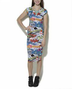 Wet Seal Women's Comic Color Midi Bodycon Dress S Multi Colored