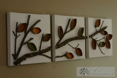 Paper towel rolls, a dead branch and 3 finished square pictures to attach to.