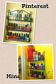 Spice Rack Turned Into Nail Polish/hair Products Organizer.