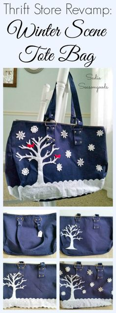 Give a thrift store canvas tote bag an easy, lovely winter holiday makeover upcycle with this DIY tutorial! Create a snowy winter wonderland scene using felt, eyelet lace trim, and small crocheted doilies for snowflakes! Easy, low-sew repurpose craft project from #SadieSeasongoods / www.sadieseasongoods.com