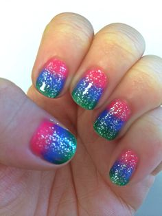 "Channeling my inner ""Lisa Frank"" with this mani!!!"