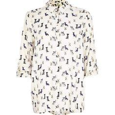 Cream dog print roll sleeve shirt