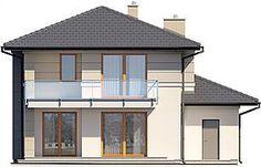 Elewacja tylna projektu Karat Modern Family House, Home Fashion, Bungalow, Gazebo, Outdoor Structures, Mansions, House Styles, 1, Home Decor