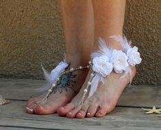cbab5ab09b75 Couture Barefoot Wedding Sandals with White Feather Accents and Flowers - MoJo s  Free Spirit Barefoot Wedding