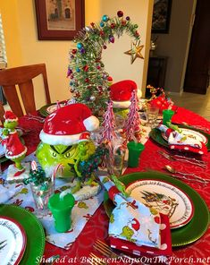 """A Whimsical """"How the Grinch Stole Christmas"""" Table Setting – Between Naps on the Porch Whoville Christmas Decorations, Grinch Christmas Decorations, Grinch Christmas Party, Grinch Party, Whimsical Christmas, Christmas Table Settings, Nutcracker Christmas, Disney Christmas, Rustic Christmas"""