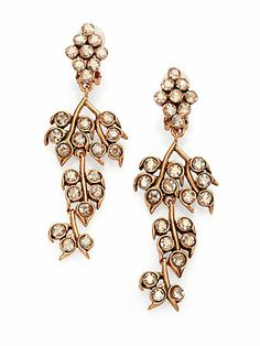 Oscar de la Renta - Crystal Vine Clip-On Chandelier Earrings - Saks.com