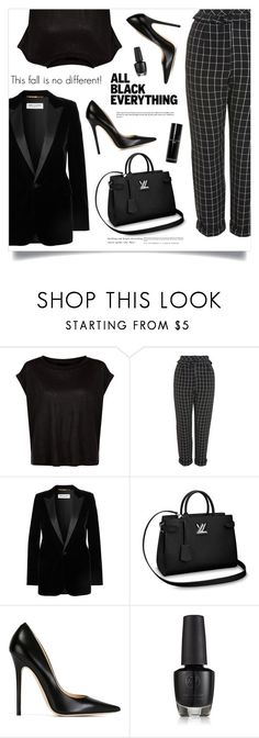 """""""Monochrome: All Black Everything"""" by marina-volaric ❤ liked on Polyvore featuring Topshop, Yves Saint Laurent, Jimmy Choo, Bobbi Brown Cosmetics and allblack"""