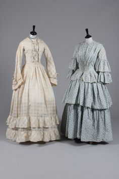 Printed cotton day dress and trellis-weave muslin gown, late 1850s-early 1860s   In the Swan's Shadow