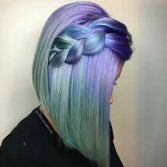 Credit to @tiffanymhair   A gorgeous sidebraided bob, loving that color... lavender and spearmint 💚💙 💕#HairGoals  To have your hair featured please tag @bobbedhaircuts  #hair#hotd#color#inspiration#hairdressing#hairstyle#hairfashion#hairinspo#pravana#prettyhair#coloredhair#colorfulhair#hairenvy#haircolor#hairideas#hairstyles#longhair#haircolour#hairoftheday#hairspiration#dyedhair#coolhair#mermaidhair#hairfashion#hairporn #braidedbob #sidebraid  #bob #bobhaircut #bobcut