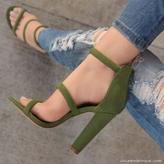On The Line #lolashoetique #heels #strappy #new #olive #green #sexy #chic #stylish #style #fashion #fashionable #spring #summer #casual #ootd #sotd #trending