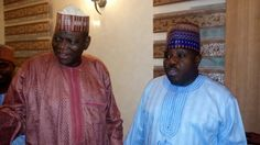 Leader of the masses, Alh. Dr. Sule Lamido CON in exchange of pleasantries with national party chairman Sen. Ali Modu Sharrif,